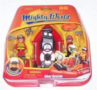Mighty World RIVER RESCUE Fire Boat Action Figure Set 8692 Water