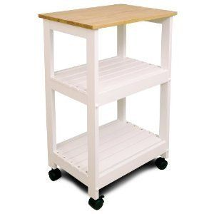 Mobile Home Kitchen Wood Cart Microwave Stand White Base Rolling NEW