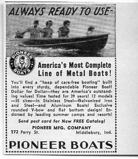 Ad Pioneer Boats Complete Line of Metal Boats Middlebury In
