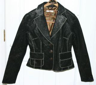 Brand New Mike Chris Black Biker Leather Jacket for 2012 Sz Large