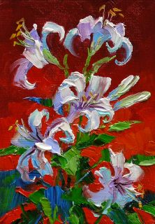 Mikki Senkarik Original Oil Painting ACEO White Lilies Pen and Ink