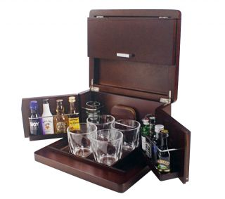 Mini Liquor Bar Whiskey Set Shot Glasses Brookstone
