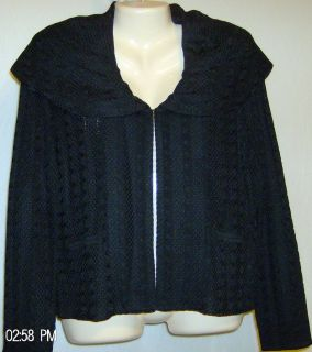 Ming Wang Black Acrylic Jacket Size Medium Washable