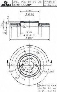 Brembo 25809 Disc Brake Rotor