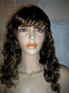W73 Long Curly Wavy Brown Bang Beyonce Look Cosplay Wig