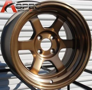 15X8 ROTA GRID V WHEELS 4X100 RIM 0MM SPORT BRONZE