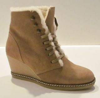 Crew Suede MacAlister Shearling Wedge Boots 7 Nut