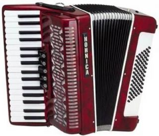 Hohner Hohnica 34x72 Piano Accordion w/ Case & Straps, 5 Switch, Red