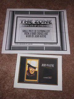 Small Piece of Clothing from John Waynes Shirt on 7x5 Card w/ COA