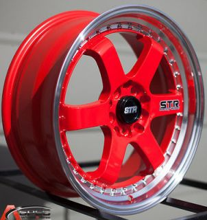 16 STR 510 5x100 RED WHEEL FIT COROLLA CELICA MATRIX VIBE SUNFIRE WRX