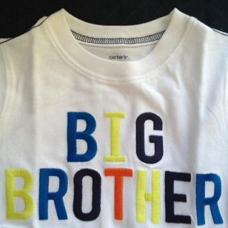 Boys 4T Big Brother Shirt NEW NWT Carters S/S White CUTE Colorful
