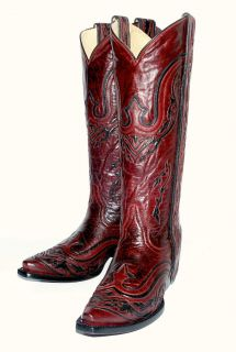 Corral Womens G1038 Wine Western Boot w/Black Inlay & Long Mule Ears