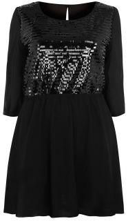 Ladies Plus Size Black Sequin Dress #622