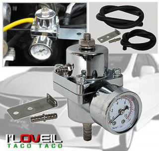 UNIVERSAL CHROME ADJUSTABLE JDM FUEL PRESSURE REGULATOR +GAUGE 140 PSI