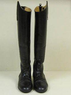 Devon Aire Black Leather Field Riding Boots w Zip Back Fancy Stitch