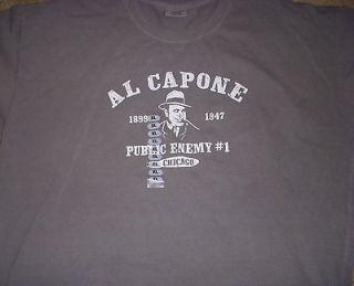 Al Capone Public Enemy #1 Gray T shirt Chicago Size XL New