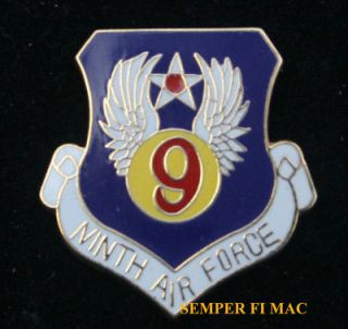 9TH AIR FORCE ACC SHAW AFB WWII HAT PIN US AIR FORCE USAF PILOT