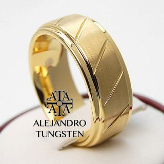 Alejandro Tungsten Carbide Ring 8MM 18K Gold Brushed Beveled Edge Band
