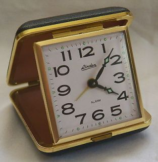 VINTAGE LINDEN GLOW & GOLD PLATED TRAVEL ALARM CLOCK