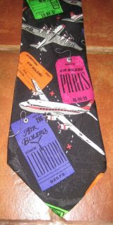 Surrey Neck Tie Air Planes Luggage Tags Airline Tickets Colorful New