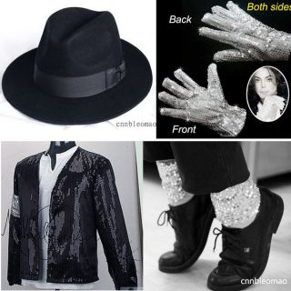 4PCS MICHAEL JACKSON Billie Jean Jacket+Hat+Glo ve+Socks