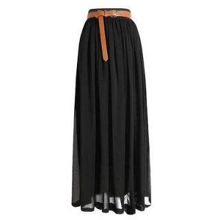 Women Chiffon pleated Retro Long Elastic Waist Band Maxi Dress Skirt