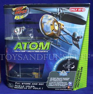 ATOM   Air Hogs R/C Micro Heli   Indoor HELICOPTER   SILVER & RED   Ch