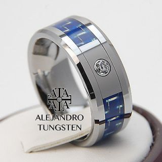 Alejandro Tungsten Carbide Ring Magnificent Blue Inlay Amazing Diamond