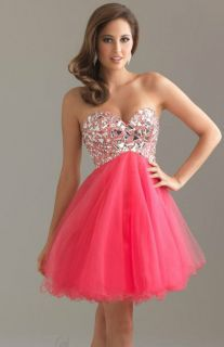 Night Moves by Allure 6410 Coral Strapless Mini Prom Dress Size 0 to