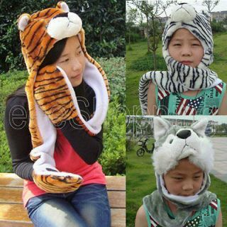 Ladies Soft Long Plush Wild Animal Hats Scarf All in One Gloves Hood