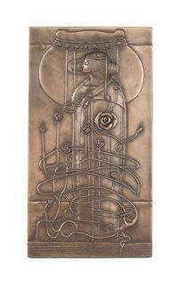 Art Nouveau Charles Mackintosh Bronze Wall Plaque