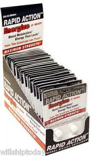 Rapid Action Energize 2 Way Energy Pills 24 packs of 4  96 pills Max