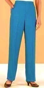 ALFRED DUNNER Blue Flat Front Pull on Dress Pants Slacks 18 NEW