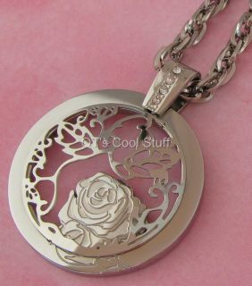 ROSE FLOWER CIRCLE OF LIFE STAINLESS STEEL PENDANT CHAIN NECKLACE