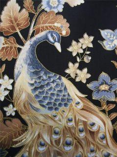 Timeless Treasures Beautiful Peacock Neutral Metallic Cotton Fabric