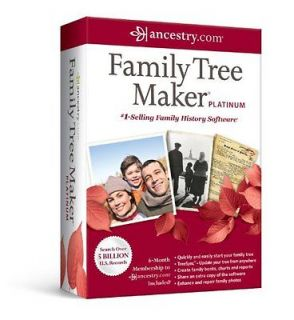 FAMILY TREE MAKER PLATINUM 2012 + ANCESTRY 6 MONTH MEMBERSHIP NEW