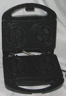 Black 3 3/4 Salton Pizzelle Waffle Maker Appliance