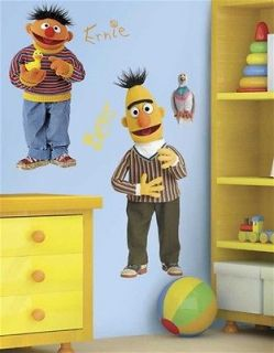 Sesame Street Bert and Ernie Giant Peel Stick Wall Decal Stickers NEW