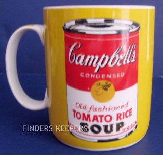 Andy Warhol Campbell Soup Pop Art Yellow Coffee Tea Mug Cup Collector