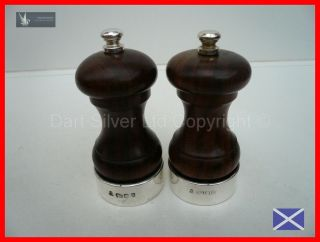 Pair of Hallmarked Sterling Silver Mounted Salt & Pepper Grinders~From