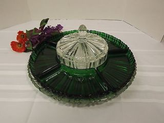 RARE ANCHOR HOCKING EMERALD GREEN DEPRESSION 5 INSERT GLASS RELISH