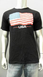 Anvil 10ZF.1 American Flag Mens M Black Cotton Crew Neck T Shirt Tee