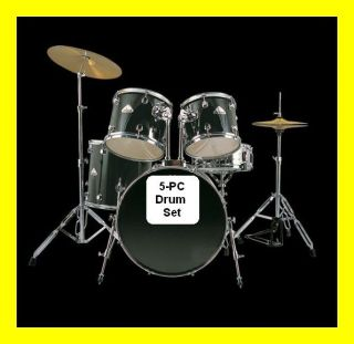 NEW 5 PIECE FULL SIZE DRUM SET+CYMBALS+ST ICK+THRONE
