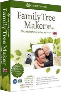FAMILY TREE MAKER 2011 DELUXE EDITION   3 MONTHS ANCESTRY ESSENTIALS