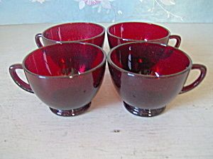 ROYAL RUBY DEPRESSION RED CUPS by ANCHOR HOCKING