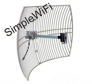 Parabolic WiFi Grid Antenna Dish 24dBi 2.4GHz 802.11bgn 7 degree Beam