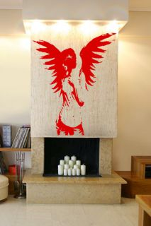 Angel Fairy Gothic Girl Wall Art Sticker Decal Transfer Tattoo Mural
