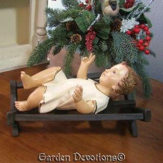 * 10 BABY JESUS IN MANGER STATUE Glass Eyes CHALKWARE / PLASTER