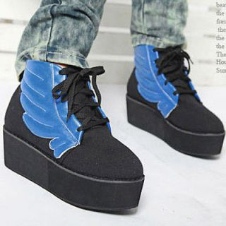 BIG WING~ Womens Lace Up High Top Ankle Boots Fashion Platfrom Wedges