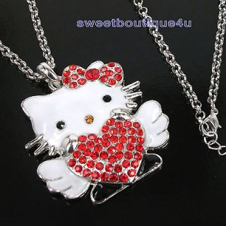 Beautiful Angel hellokitty crystal Red Heart Red Bow pendant necklace